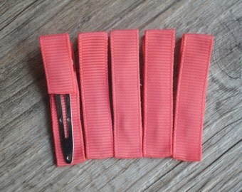 Set of 5 - Coral Partially Lined Alligator Clips Single Prom Hair Clips - Alligator Hair Clips - 45mm Alligator Hair Clips - Headband Supply