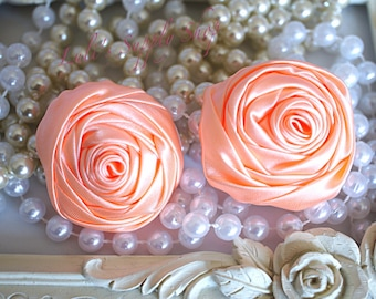 """2"""" Large Satin Ribbon Roses - Set of Two - Rolled Rosettes - Peach Satin Rolled Rosettes - Large Satin Roses - Peach Satin Flowers"""