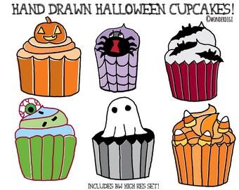 Halloween Clipart - Cupcake Clipart - Halloween Cupcakess - Hand drawn clipart