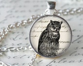 OWL Necklace Pendant Vintage Owl Necklace Art Image Antique writing Handmade Glass Pendant Owl Jewerly