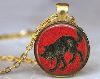 BLACK CAT Necklace Pendant halloween cat Lovers Jewerly Vintage Black kitten Pendant necklace