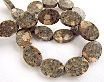 Sesame Jasper Beads, 22 Jasper Beads, Natural Jasper Stone, Flat Oval Beads, 16in Strand, Jasper Ovals, Jewelry Supplies, UK Seller