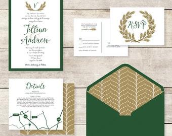 5x7 Layered Green and Gold Wheat Monogram Wedding Invitation with RSVP & Insert Custom Envelope Liner