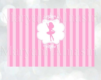 "Printable Backdrop , ballerina theme ,pink, stripes , ballerina silhouette, 72""w x 48""h, Instant download"