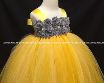 Flower girl tutu dress dark grey yellow