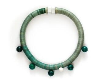 Elegant Rope Necklace, Fiber Ombre Necklace, Beaded Rope Necklace, Tribal Inspired Necklace