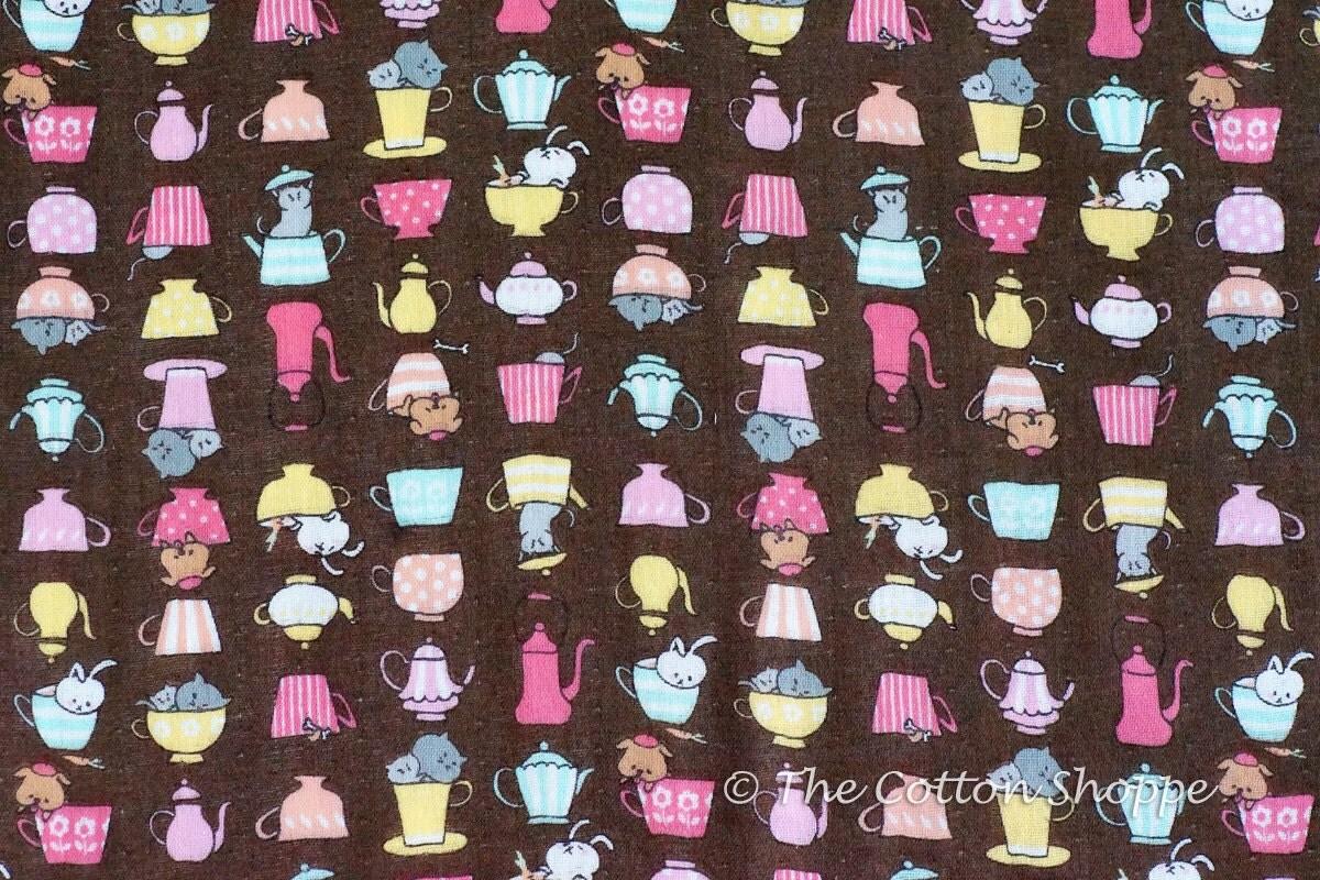 Kokka fabric japanese fabric teacups dogs cats rabbits for Kids apparel fabric