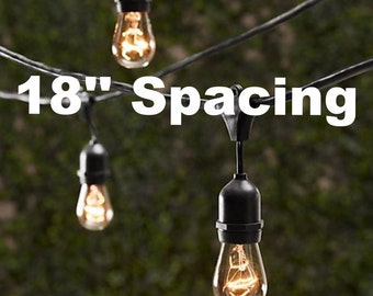 Vintage Patio String Lights W/ Black Cord U0026 Clear Glass Edison Bulbs   18u0027