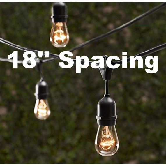 80 50 Bulbs Vintage Patio String Lights Black Cord
