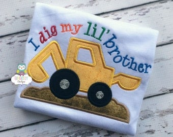 I dig my lil' Brother Shirt or Bodysuit, Sibling Shirt, Little Brother Shirt, Brother Shirt