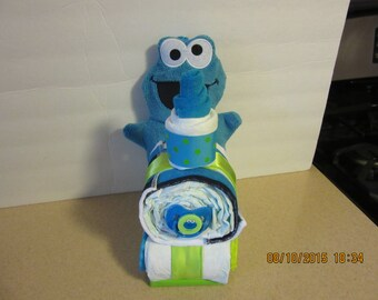 Cookie Monster or Elmo Train Diaper Cake, Sesame Street Diaper Cake