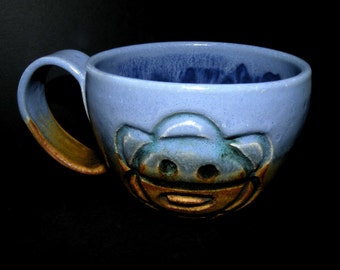 Large coffee mug - large ceramic mug - light blue handmade mug with Sun and Coqui motifs