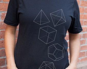 Platonic Solids T-Shirt   Science Tee, Mathematics Geometry STEM Gift, Teacher gift, nerdy t-shirt, magic, smart science gift,