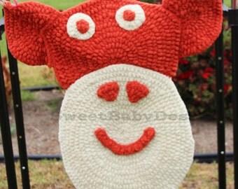Sock Monkey Rug, Crochet Tummy Time Mat, Nursery Decor, Thick Nylon Blanket, Animal Safari Theme, Baby Shower Present, Gift for New Mom, RTS