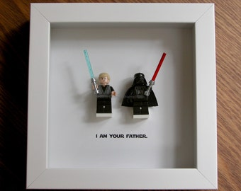 lego art star wars darth vader luke skywalker lego minifigure display wall decor picture frames display wood display frame