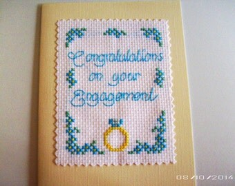 Engagement Cross-Stitch Greeting Card - Handmade Greeting Card - Pre-Wedding Greeting Card