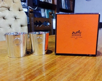 HERMES Super Sale from 799!!! Vintage Baby Little Cups EP Mark Emile Puiforcat Art Deco (Set of Two), French Silver.