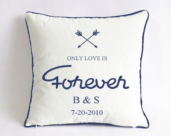 navy blue wedding pillowcase-Mr Mrs cushion-5th anniversary gift for couple-gift