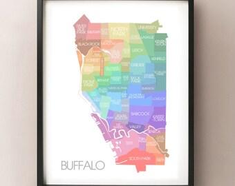 Buffalo, NY Map - Coloured Neighbourhoods Print