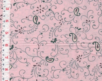 Apricot, Brown, Grey Paisley Fabric Cotton Blend Circa 1980  - by the Piece Length Available: 1 7/8 yards