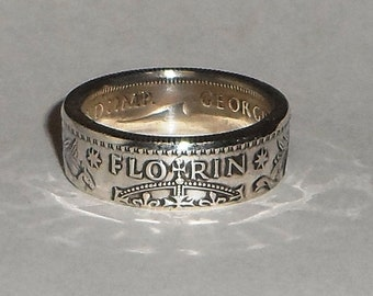 Australian 1 Florin  silver coin ring sizes 6-12