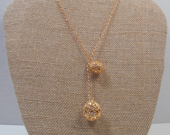 Long Gold Plated Filigree Ball Necklace