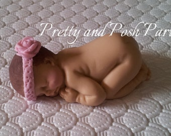 Darling Pink Rose Headband Fondant Baby Cake Topper