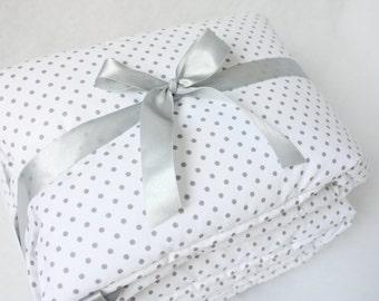 Baby Cot Bumper Crib Bumper  Grey Cot Bumper Polka Dots Bumper Grey & White Bumper Half Cot Bumper