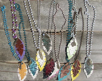 Leather Feather Necklaces with Charms
