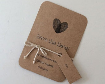 Wedding Save the Date - With Name Tags & Twine - Rustic Kraft Paper - Thumbprint - Custom Made to Order