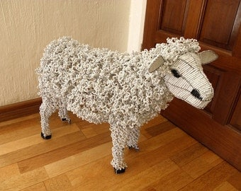 African Beaded Wire Animal Sculpture - SHEEP - White