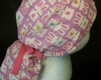 Easter Bunny Ribbon Tie Ponytail Surgical Scrub Hat