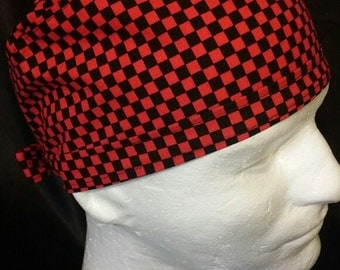 Red and Black Checkers Checkered Tie Back Chef Surgical Scrub Hat