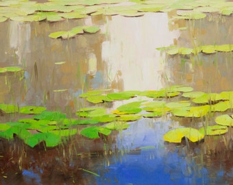 Waterlilies Pond Original oil Painting on Canvas Handmade painting 20 x 45 in One of a kind Large Size