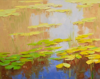 Waterlilies Autumn Colors Original oil Painting on Canvas Handmade painting 20 x 45 in One of a kind Large Size