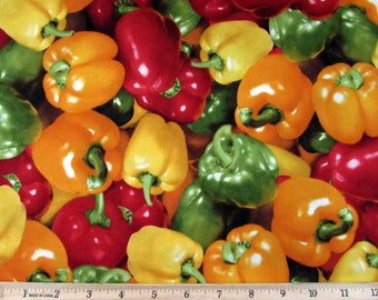 Realistic Vegetable Multi Colored Bell Peppers Fabric