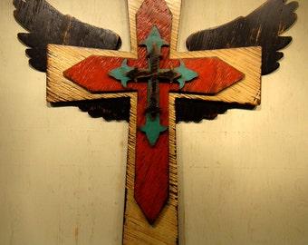 LARGE Rustic Wooden Cross and Angel Wings: Faith Cross, Handmade wood cross, Painted wooden cross, Cross wall, Angel Wings Crosses