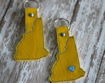 New Hampshire  -  Heart for the City - In The Hoop - Snap/Rivet Key Fob - DIGITAL Embroidery Design