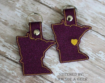 Minnesota OUTLINE  -  Heart for the City - In The Hoop - Snap/Rivet Key Fob - DIGITAL Embroidery Design