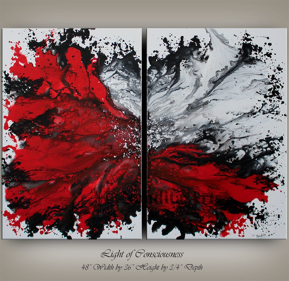 Wall Art Canvas Red : Wall art canvas painting extra large red modern