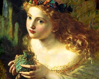 """Sophie Anderson - Take the fair face of woman from 1869, 11 x 14"""" canvas art print"""