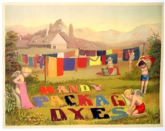 """Handy package dyes from 1900 11x14"""" cotton canvas art print advertising art"""