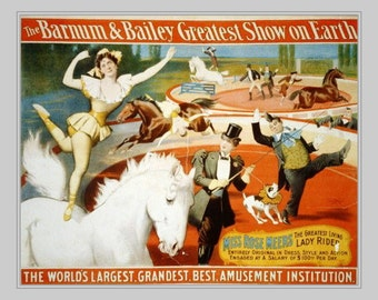 """11 x 14""""  canvas art print~ Barnum & Bailey circus Horse Show- 1897"""