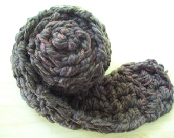 Scarf 3 - thick brown with variegated mauve