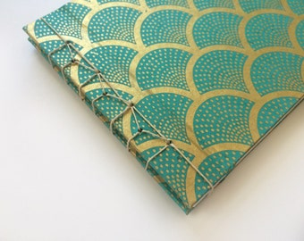 Stab Bound Gold & Turquoise Art Deco Book