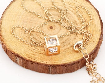 Gold Cube Pendant Necklace