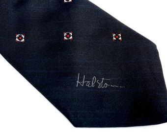 Vintage Designer Tie,HALSTON Signature,Black Necktie,57 x 3.25 Poly/Silk Tie,Medallion Foulard Tie,High End Tie,Business Tie,Signed Tie