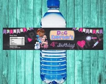 Doc McStuffins Water Bottle Label Printable, Doc McStuffins Birthday Party, Doc McStuffins Party Favors Decorations McStuffin Wrapper