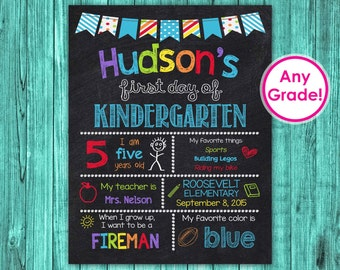 Back to School Sign, First Day of Kindergarten Sign Chalkboard Printable, First Day of Preschool School Sign Personalized Grade Boy Blue