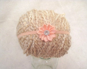 Small Peach Flower Baby Headband Cute Photo Prop Or Everyday 14 To 14.5 Inch